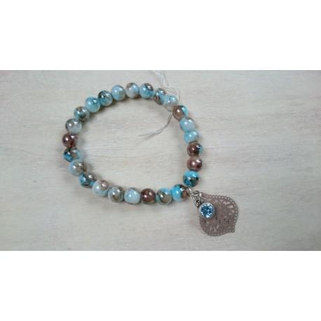 Aqua met bruine armband