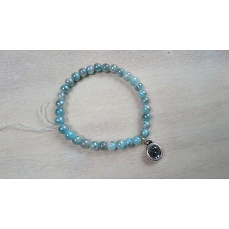 Aqua met grijze armband
