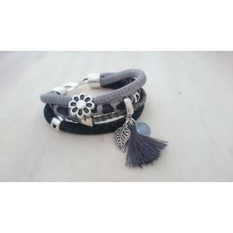 Zwart met grijze armband