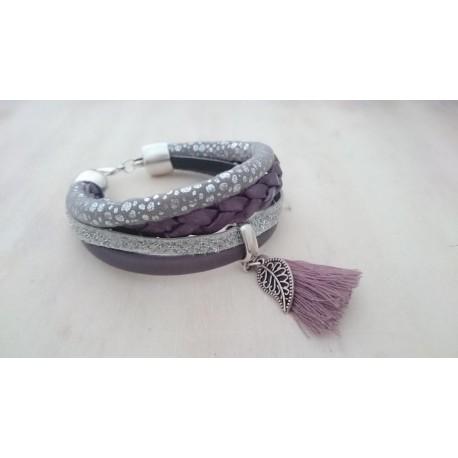 Zilver met paarse armband