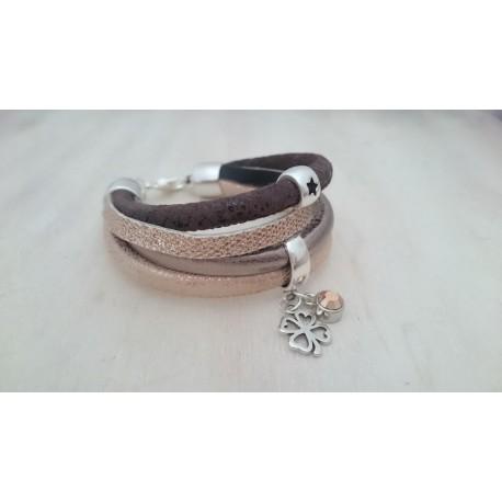 Bruin met Rosé kleurige armband