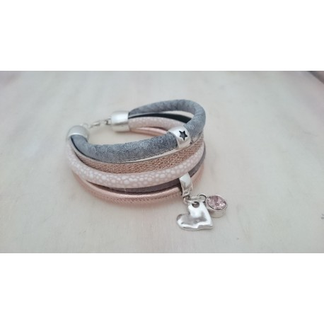 Grijze met Rosé armband
