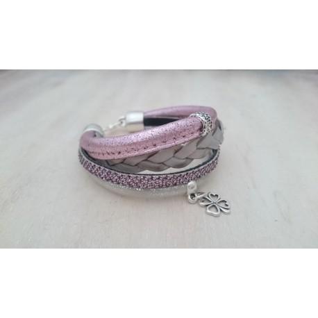 Metallic roze met zilvere armband