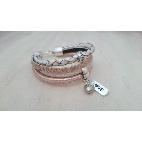 Rosé en ivoorkleurige armband