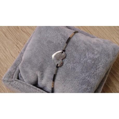 Zwart/grijs armbandje met hart