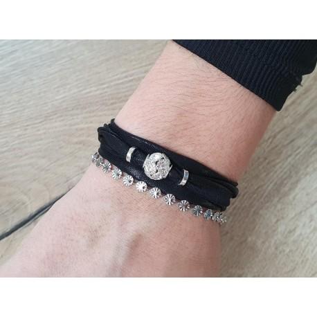 Zwarte wikkelarmband met strass