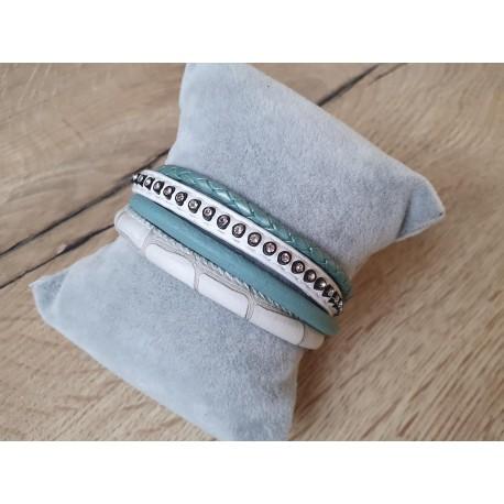 Wit/turquoise armband