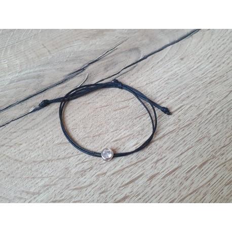 Waxkoord armbandje met strasssteen
