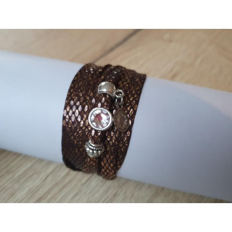 Metallic bruine snake armband