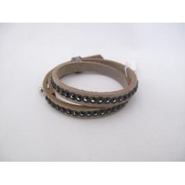 Dubbele donkerbruin/grijze armband